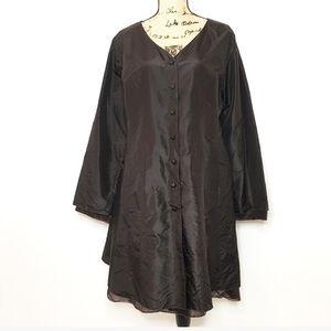 Eileen Fisher Brown Silk Long Sleeve Dress